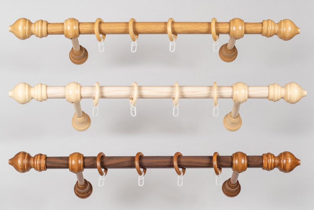 Карнизы укомплектованные BERGAMO Ø28мм с деревяными добавами