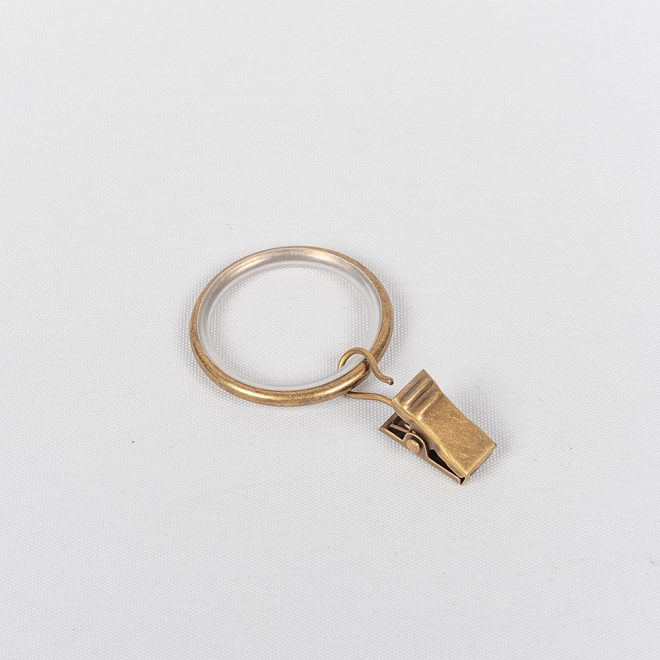 Curtain rings MODERN Ø19mm with curtain clips bright aged gold colour.