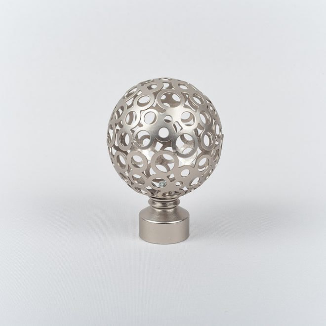 Ending for curtain rod MONACO Ø19mm bright matte silver colour