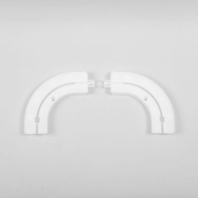 Ending corners for ceiling mounted CM curtain rails 1 rail white colour