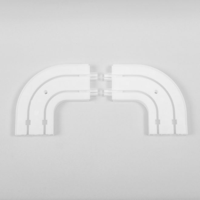 Ending corners for ceiling mounted CM curtain rails 2 rails white colour