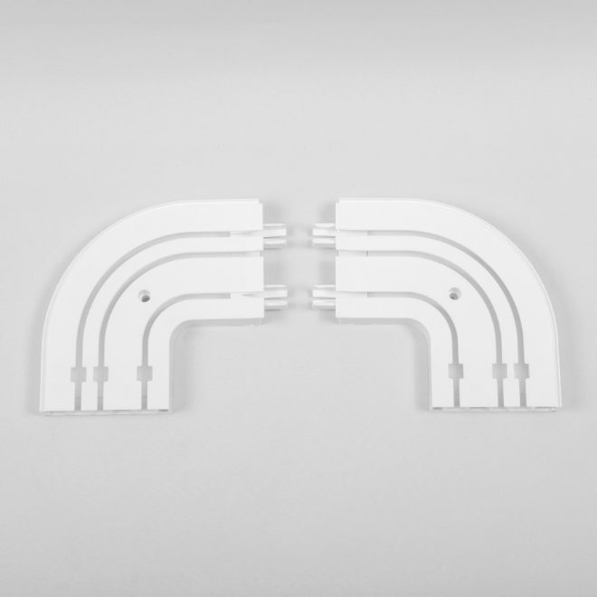 Ending corners for ceiling mounted CM curtain rails 3 rails white colour