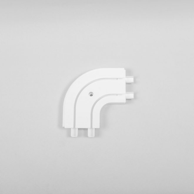 Outward corner for ceiling mounted CM curtain rails 2 rails white colour