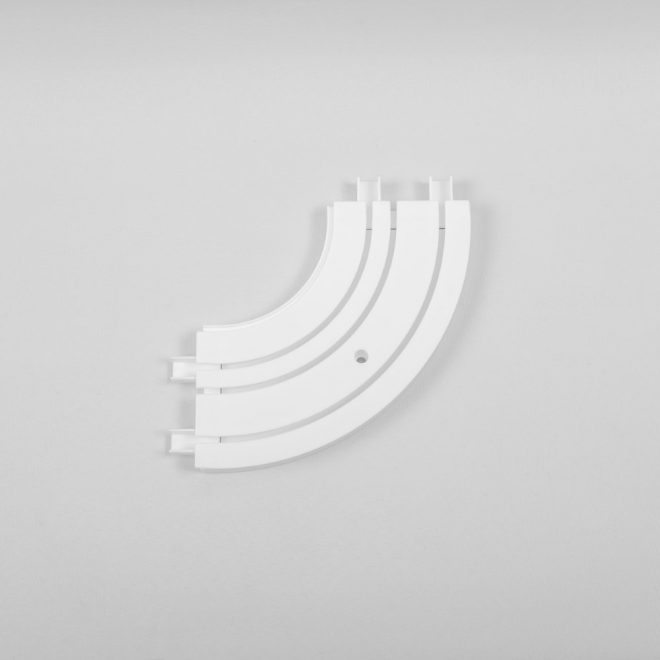 Inside corner for ceiling mounted CM curtain rails 3 rails white colour