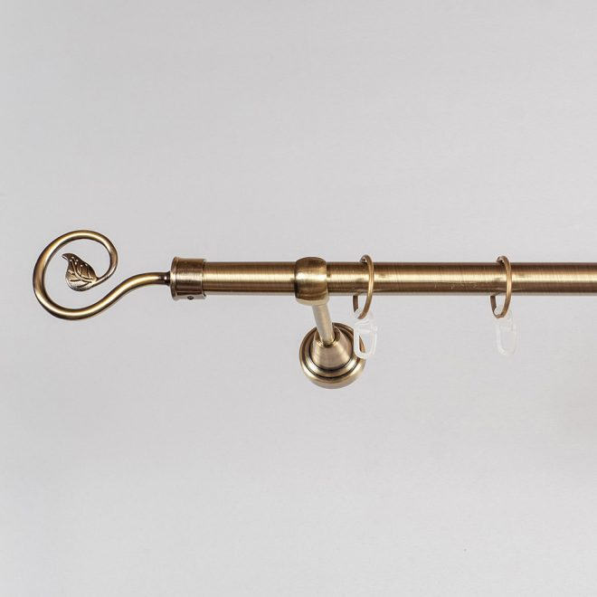 Curtain rod LUKA Ø19mm single bright aged gold colour