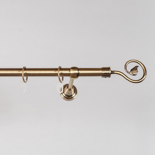 Curtain rod LUKA Ø19mm single bright aged gold colour 2