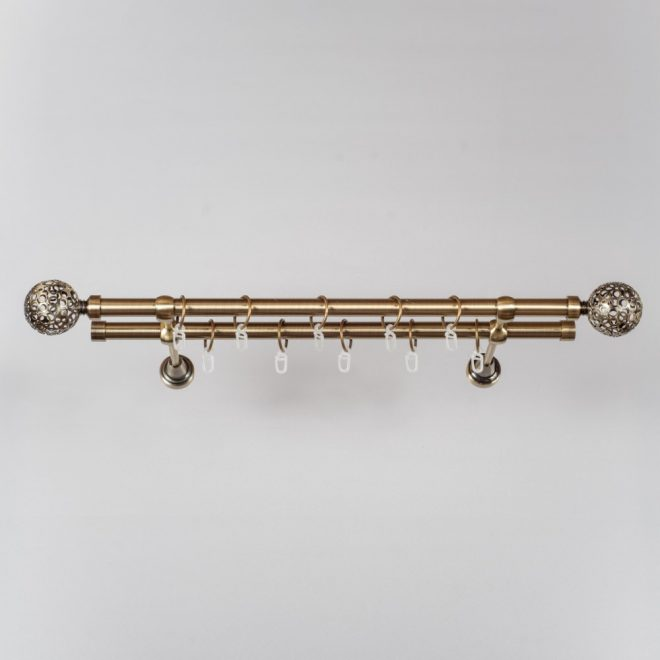 Curtain rod MODENA LUNAS Ø19mm double bright aged gold colour 1