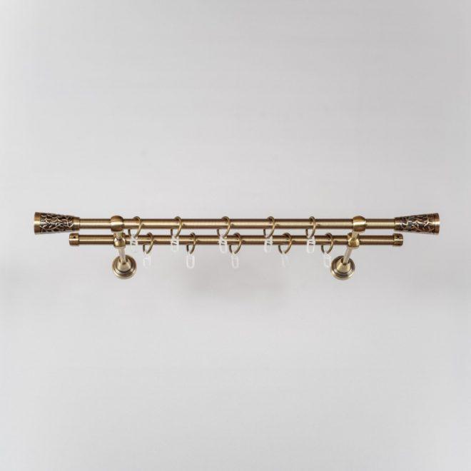 Curtain rod SEVILLA PICOLO Ø16mm double bright aged gold colour 1
