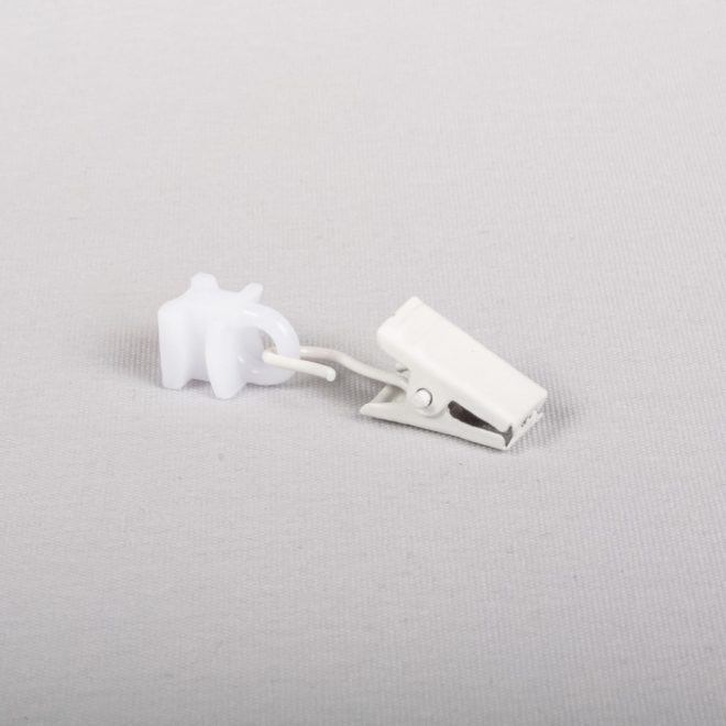 Sliding eyeholes with metal curtain clips white colour (No. A 337)