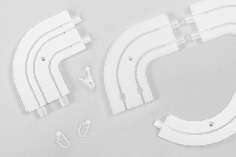 Ceiling mounted CM curtain rails in separate details