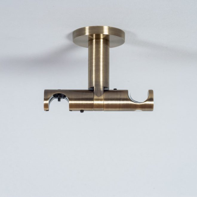 Holder for curtain rod ASPEN NOVA L7cm Ø19 19mm to the ceiling double bright aged gold colour 2