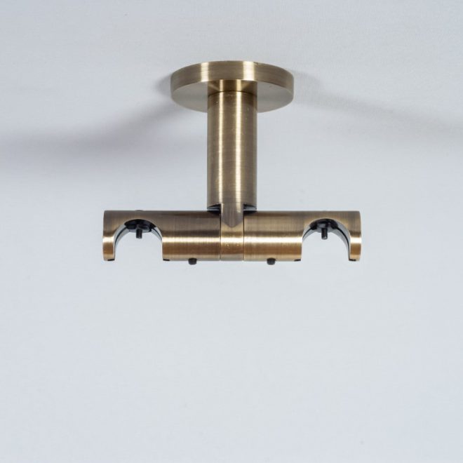 Holder for curtain rod ASPEN NOVA L7cm Ø19 19mm to the ceiling double bright aged gold colour