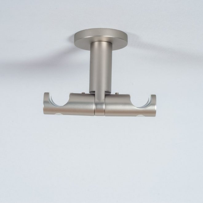 Holder for curtain rod ASPEN NOVA L7cm Ø19 19mm to the ceiling double bright matte silver colour 1