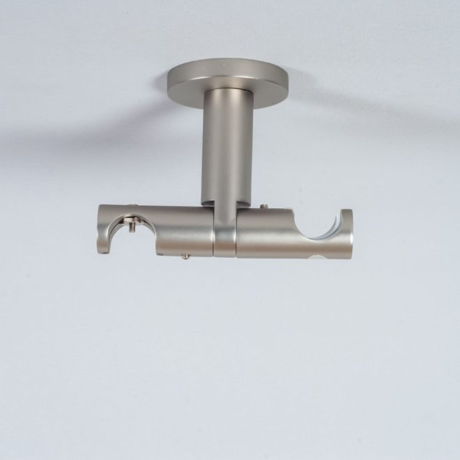 Holder for curtain rod ASPEN NOVA L7cm Ø19 19mm to the ceiling double bright matte silver colour 2