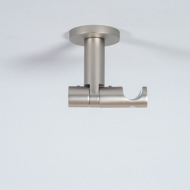 Holder for curtain rod ASPEN NOVA L7cm Ø19mm to the ceiling single bright matte silver colour 1