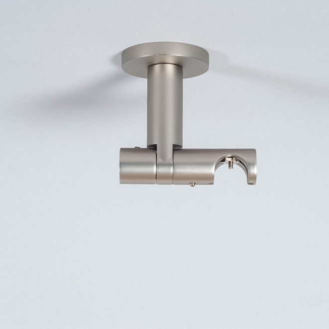 Holder for curtain rod ASPEN NOVA L7cm Ø19mm to the ceiling single bright matte silver colour