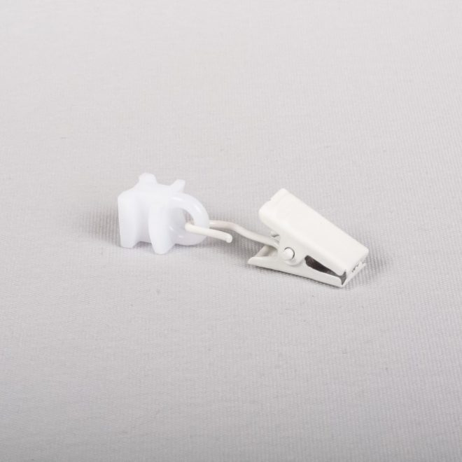Plastic slider with metal curtain clips white colour No. U 336