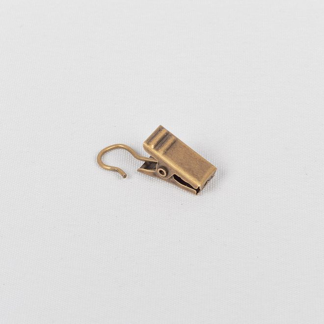 Metal curtain clips for the curtain rings Ø19mm bright aged gold colour No. 332