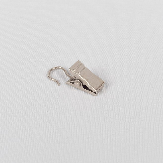 Metal curtain clips for the curtain rings Ø25mm bright matte silver colour No. 331