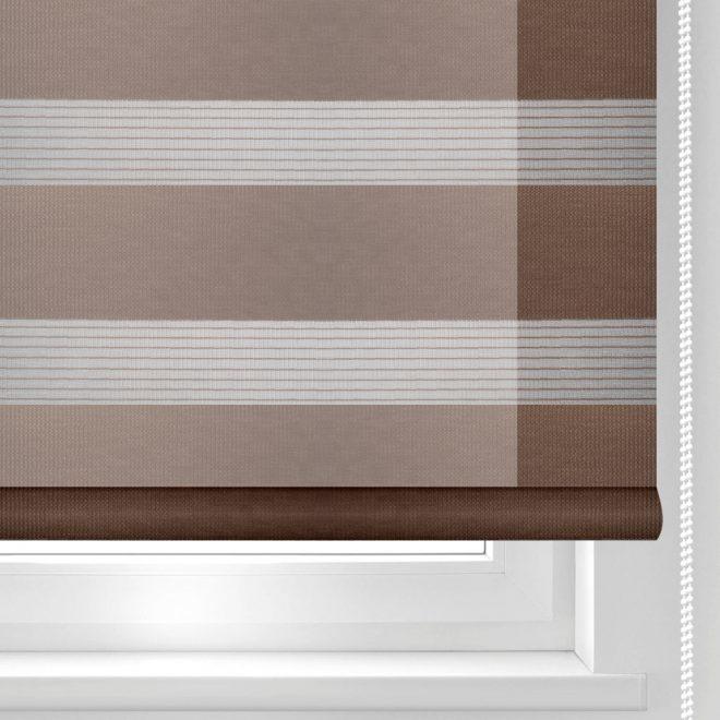 Roller blind DAY-NIGHT dark brown colour ZPF-19